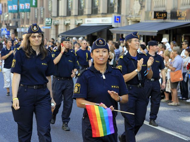 Sweden police take part in the Gay Pride, or Pride Parade, in Stockholm, 04 August 2007. Thousands of...