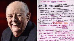 La bozza del discorso di ringraziamento per il Nobel: