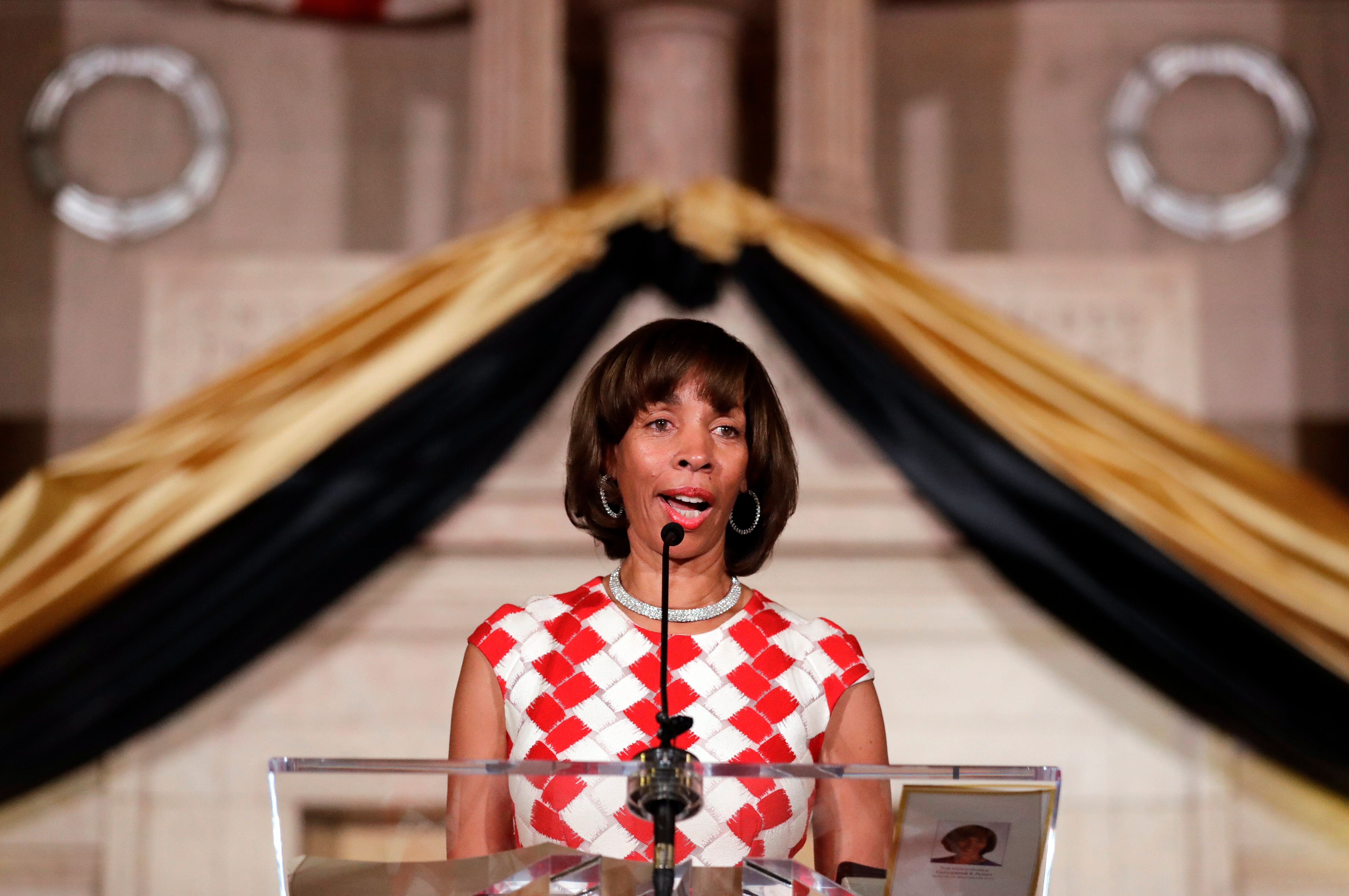 Baltimore Mayor Catherine Pugh delivers an address during her inauguration ceremony inside the War Memorial Building in Baltimore, Tuesday, Dec. 6, 2016. Pugh succeeds Stephanie Rawlings-Blake, who decided not run for re-election following the unrest in response to Freddie Gray's death. (AP Photo/Patrick Semansky)