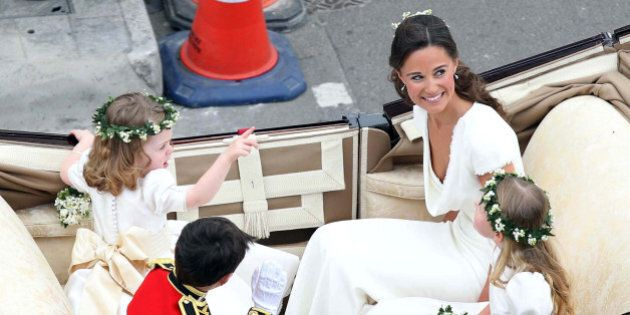 Maid of Honour Pippa Middleton arrives at the Westminster Abbey for the wedding of Britain's Prince William...