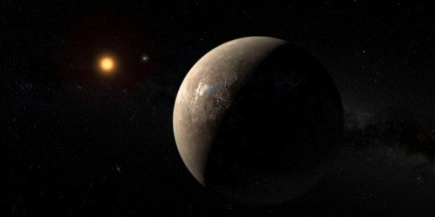 The planet Proxima b orbiting the red dwarf star Proxima Centauri, the closest star to our Solar System,...