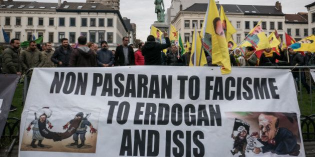 The Kurdish diaspora staged a protest in front of the European Parliament to ask the EU to take economical...