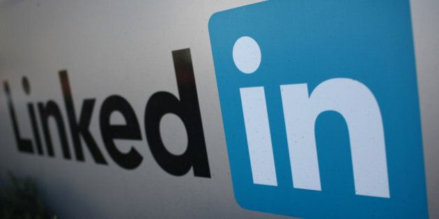 The logo for LinkedIn Corporation, a social networking website for people in professional occupations,...