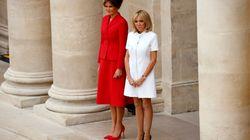 Brigitte in abito corto, Melania in rosso fiammante. Première dame e first lady