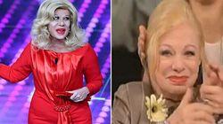 Le lacrime di Sandra Milo per l'imitazione della Raffaele:
