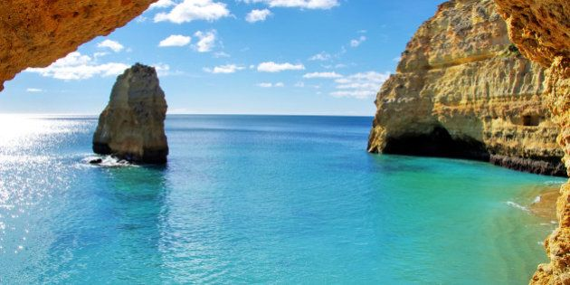 rock formations on the Algarve coast,