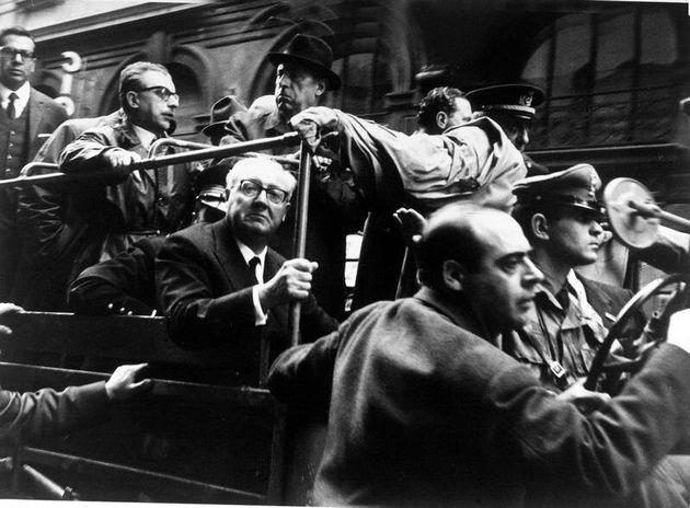 1968 ROMA. MANIFESTAZIONE STUDENTESCA CONTRO IL GOVERNO. NELLA FOTO GIOVANNI PIERACCINI E IL PRESIDENTE...