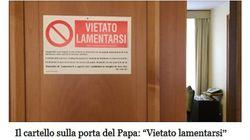 Estate calda per Papa Francesco, sulla sua porta spunta un cartello ironico: