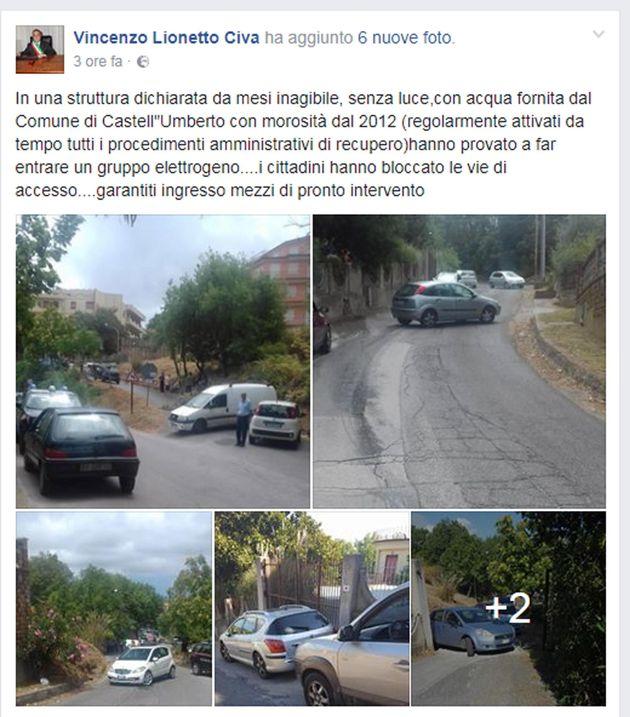 Il post del sindaco di Castel Umberto (Messina) Vincenzo Lionetto Civa che sul suo profilo Facebook ha...