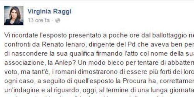 Virginia Raggi attacca il Pd su Facebook. Poi corregge il post e la critica