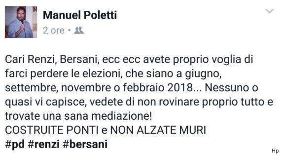 Manuel Poletti, figlio del ministro del Lavoro Giuliano, a Renzi e Bersani: