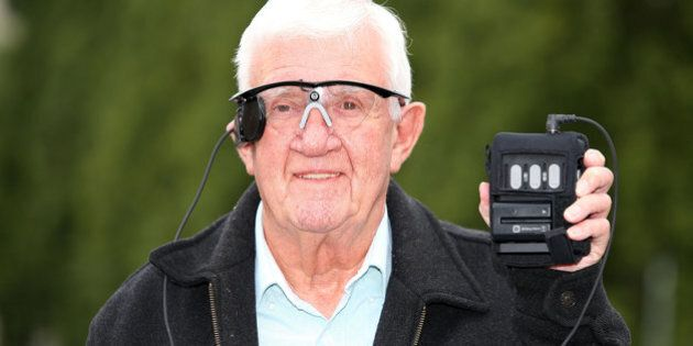 Partially sighted pensioner Raymond Flynn, 80, from Audenshaw, Manchester, speaks during a press conference...