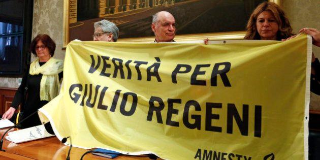 (From L to R) Paola Regeni, Senator Luigi Manconi, Claudio Regeni and lawyer Alessandra Ballerini hold...