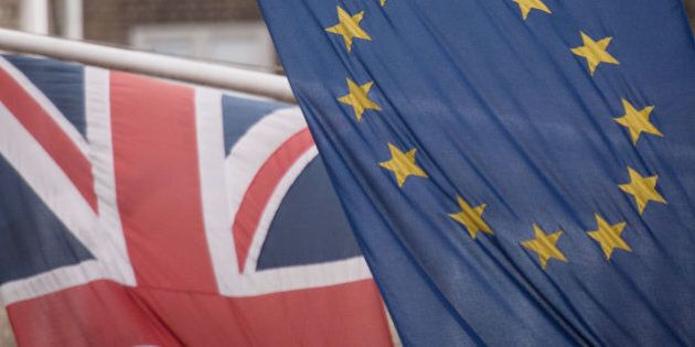 File photo dated 17/2/2016 of EU and UK flags fly above the EU Commission offices in Westminster, London....
