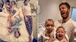Quello del papà (di 4 figlie) è un duro lavoro. E i suoi post su Instagram lo