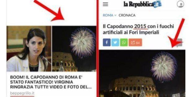 Beppe Grillo esalta su Facebook il capodanno di Virginia Raggi, ma la foto è della festa di Ignazio Marino...