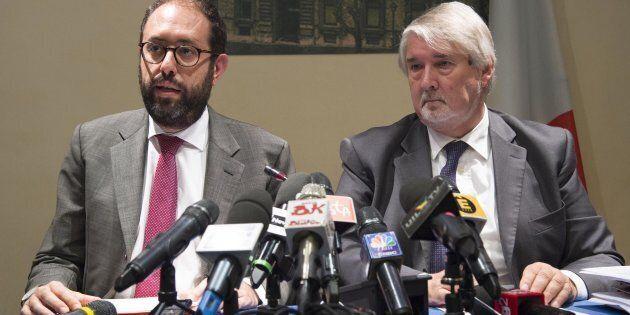 Il ministro del Lavoro Giuliano Polett, con il sottosegretario alla presidenza del Consiglio Tommaso...