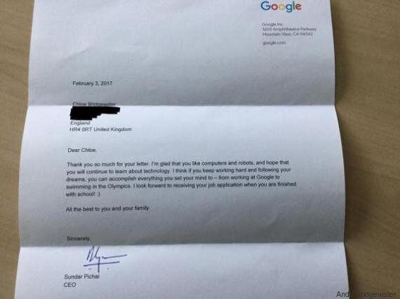 A 7 anni scrive una lettera al Ceo di Google. Lui le risponde nel modo più