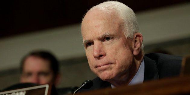 U.S. Senator John McCain (R-AZ) attends the Senate Armed Services Committee hearing on worldwide threats...