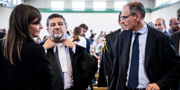 20/07/2017 Roma, sentenza di Primo Grado del processo Mafia Capitale nell'Aula Bunker di Rebibbia. Nella...