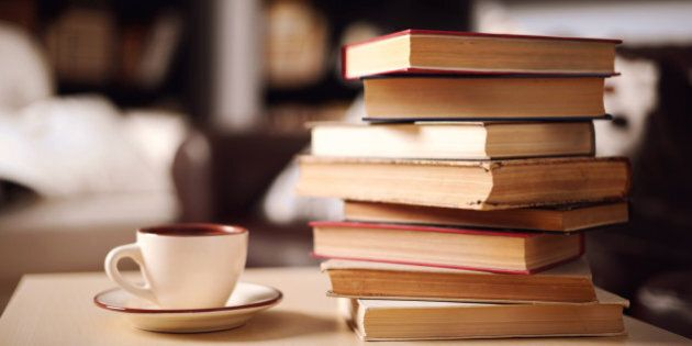 stack of books in home