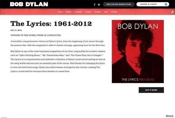 Bob Dylan ha rimosso la menzione al premio Nobel dal suo sito web. Ancora nessuna risposta a