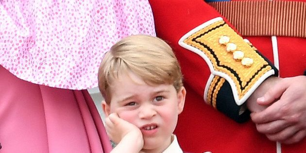 LONDON, ENGLAND - JUNE 17: Prince George of Cambridge looks on from the balcony during the annual Trooping...