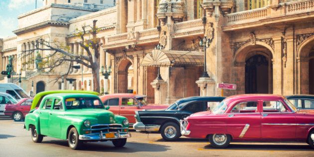 Cars parked nearGran Theatre and el Capitolio in the center of La Havana,