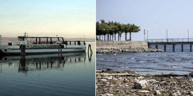 Una combo di immagini del lago di Bracciano: a sinistra il livello dell'acqua normale, a destra quello...