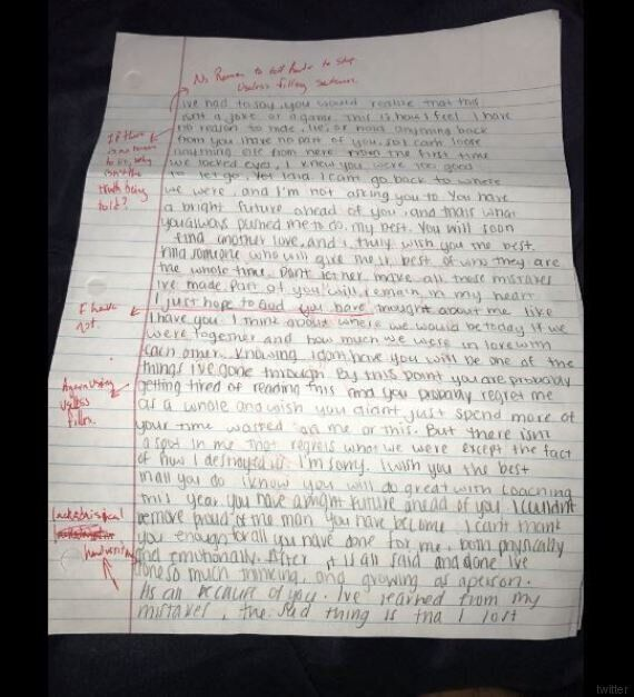 L'ex fidanzata gli scrive per scusarsi, lui gliela rispedisce indietro dopo averle corretto tutti gli...