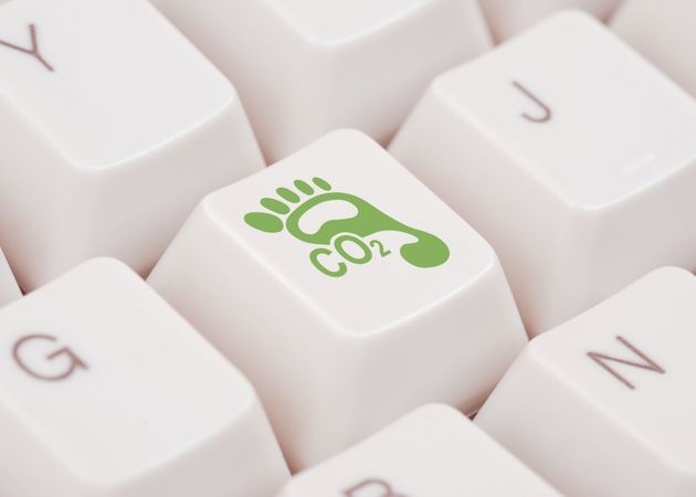 CO2 Footprint icon on a computer