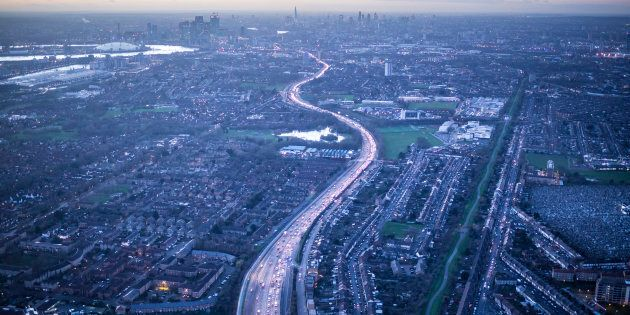 Aerial view of A13, Newham, East End, London,