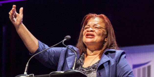 Civil rights activist Alveda King, who is Martin Luther King's niece, speaks at the Family Leadership...