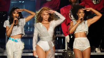 INDIO, CA - APRIL 21:  Michelle Williams, Beyonce Knowles and Kelly Rowland of Destiny's Child perform onstage during the 2018 Coachella Valley Music And Arts Festival at the Empire Polo Field on April 21, 2018 in Indio, California.  (Photo by Kevin Mazur/Getty Images for Coachella)