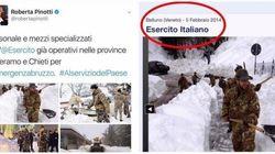Ministro Pinotti elogia l'Esercito in Abruzzo. Ma la foto è di una nevicata in Veneto del