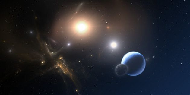 Extrasolar planet and two stars orbit about their common center of mass. All art elements made by me,...
