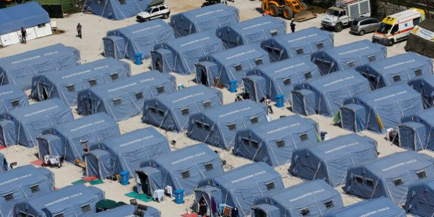 A tent camp is seen from above after an earthquake that levelled the town of Amatrice, central Italy,...