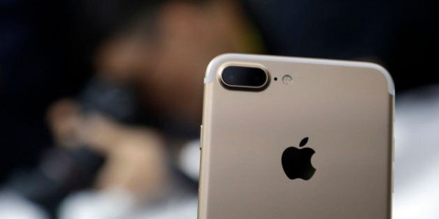 The dual camera feature on an iPhone 7 Plus is shown during an event to announce new Apple products on...