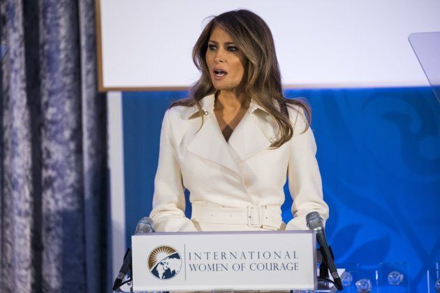 WASHINGTON, USA - MARCH 29: First Lady Melania Trump delivers a speech to women from around the world...
