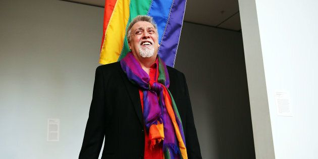 NEW YORK, NY - JANUARY 07: Rainbow Flag Creator Gilbert Baker poses at the Museum of Modern Art (MoMA)...