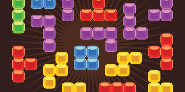 Tetris vector elements in flat design style. Game for computer, digital retro block, mosaic brick play,
