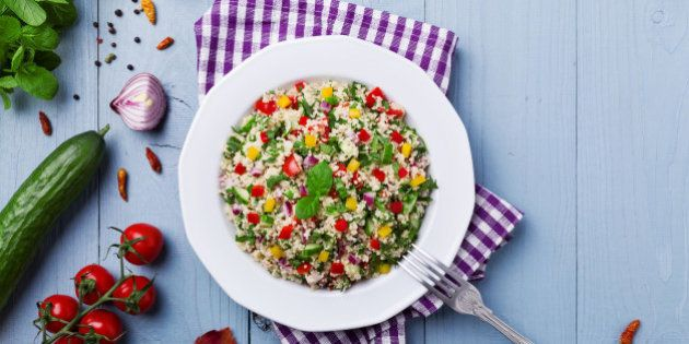 TABBOULEH Salad with cous cous and vegetable. Lebanese