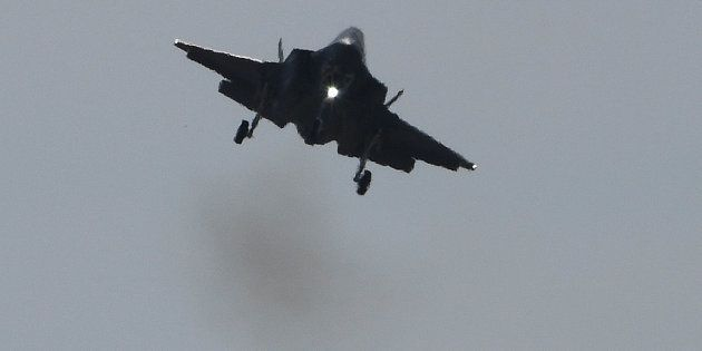 A Lockheed Martin F-35 fighter jet lands during a flight display at the International Paris Air Show...
