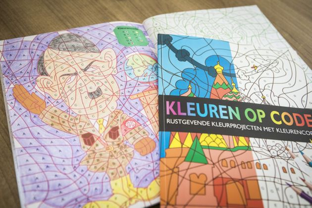 A photo shows a colouring book with an image of Adolf Hitler bought at the Dutch store Kruidvat by Ray...