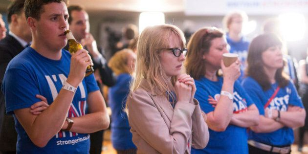 Supporters of the Stronger In campaign react after hearing results in the EU referendum at London's Royal...