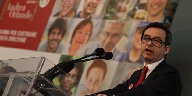 Il ministro della Giustizia, Andrea Orlando, in occasione della conferenza stampa programmatica Pd alla...