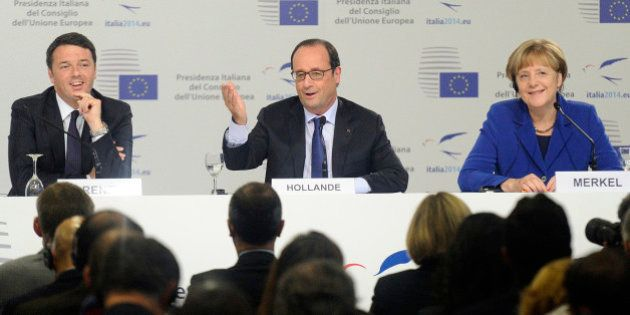 Italy's Prime Minister Matteo Renzi (L-R), France's President Francois Hollande and German Chancellor...