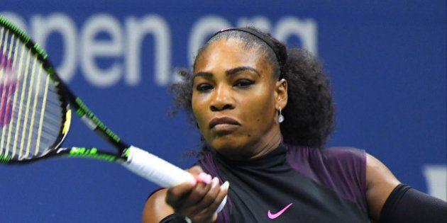 Sept 8, 2016; New York, NY, USA; Serena Williams of the USA plays Karolina Pliskova of the Czech Republic...