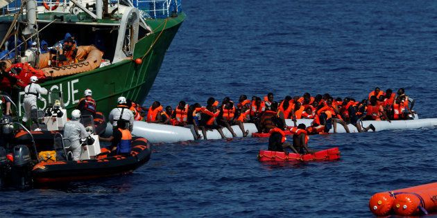 Rescue NGOs Sea-Eye and the Migrant Offshore Aid Station (MOAS) carry out a joint rescue operation as...