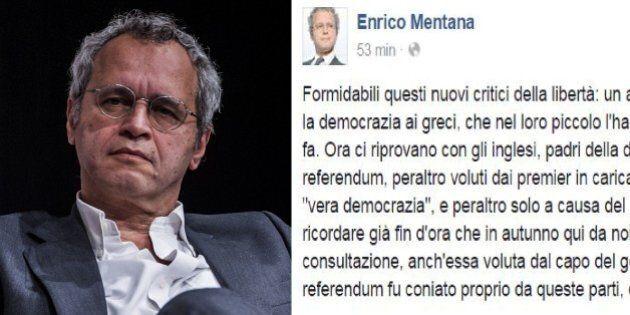 Brexit, Enrico Mentana contro chi critica il risultato del referendum:
